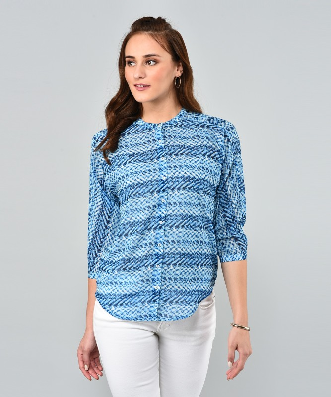 Arrow Womens Printed Casual Blue Shirt