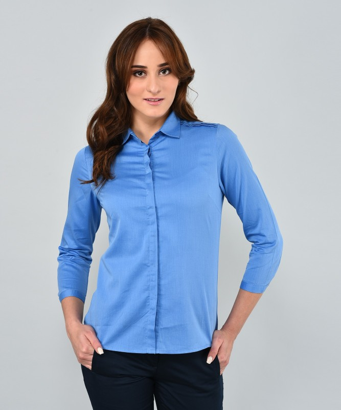 Arrow Womens Solid Formal Blue Shirt