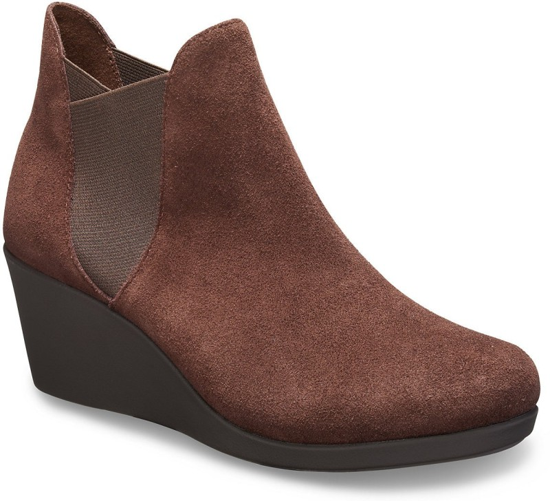 Crocs Leigh Wedge Boots For Women(Brown)
