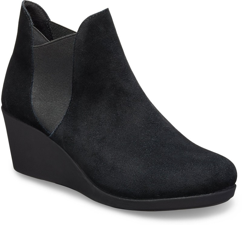 Crocs Leigh Wedge Boots For Women(Black)