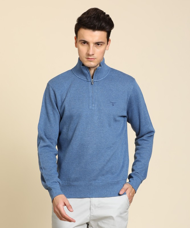 Gant Solid Turtle Neck Casual Mens Blue Sweater