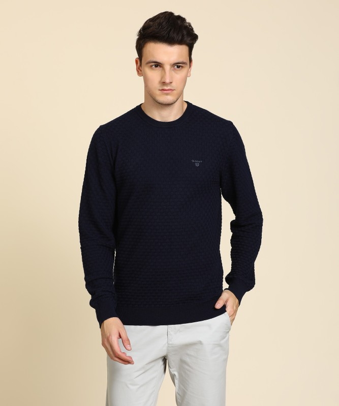 Gant Self Design Round Neck Casual Mens Blue Sweater
