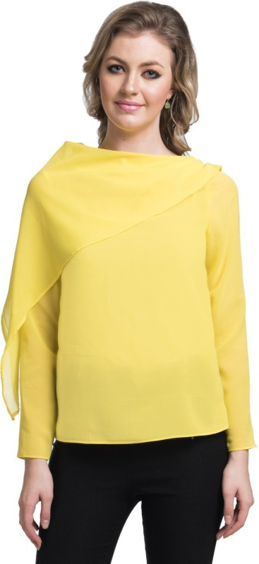 Uptownie Lite Party Full Sleeve Solid Women's Yellow Top