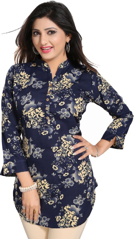 Meher Impex Casual 3/4th Sleeve Printed Women's Blue, Beige Top