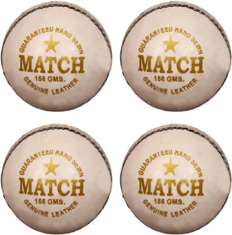 Diablo Sports Leather Match Cricket Ball White Pack of 4 (2Part) Cricket Leather Ball(Pack of 4, White)