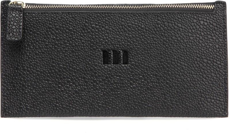 Merlot Spots Genuine Leather Purse Black Cosmetic Bag(Black)