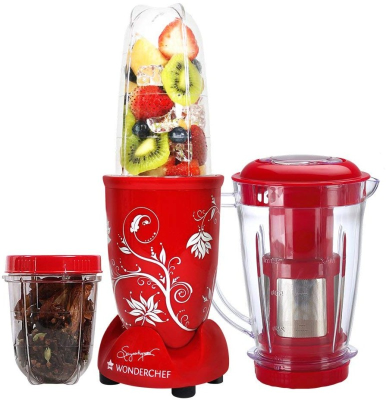 Wonderchef Present Nutri blend Red color Comes with 3 interchangeable jars (Big Juicer Jar-750ml, Long Jar-500ml & Short Jar- 300ml) and 2 separate blades (Grinding Blade & Blending Blade) 400 Juicer Mixer Grinder(Red, 3 Jars)