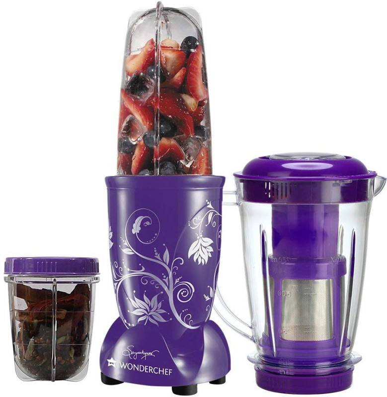 Wonderchef Present Nutri blend Purple color Comes with 3 interchangeable jars (Big Juicer Jar-750ml, Long Jar-500ml & Short Jar- 300ml) and 2 separate blades (Grinding Blade & Blending Blade) 400 W Juicer Mixer Grinder(Purple, 3 Jars)