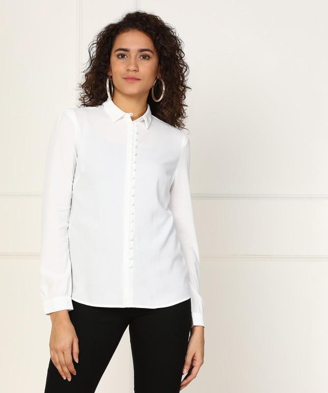 Van Heusen Women's Self Design Formal White Shirt