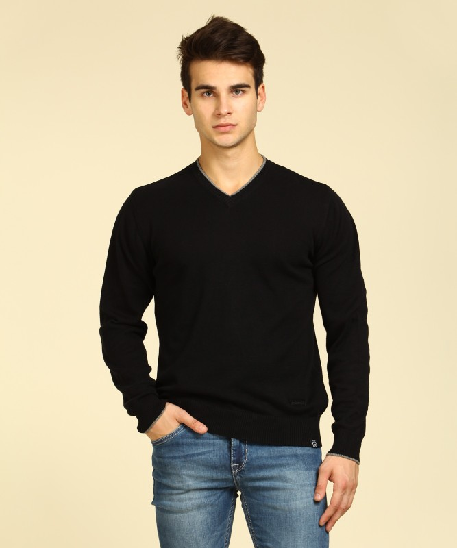Lee Solid V-neck Casual Mens Black Sweater