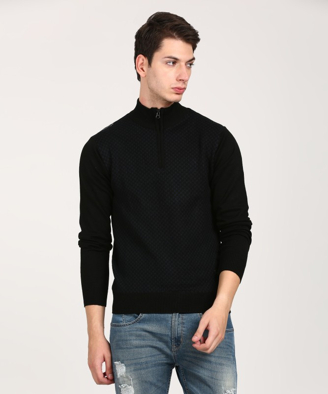 WROGN Self Design High Neck Casual Mens Black, Blue Sweater
