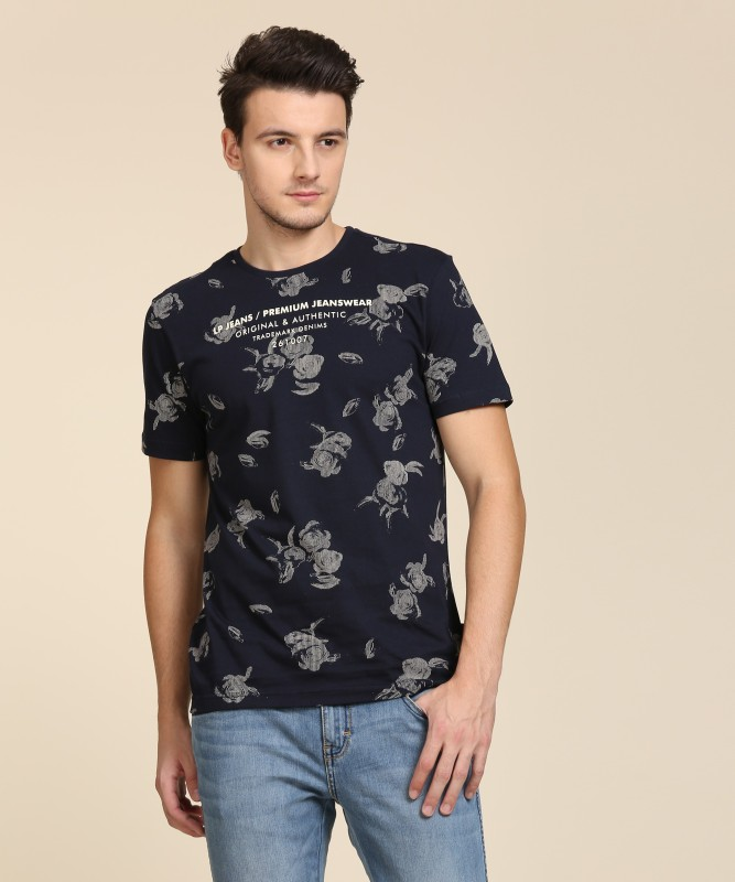 Louis Philippe Printed Mens Round Neck Dark Blue T-Shirt