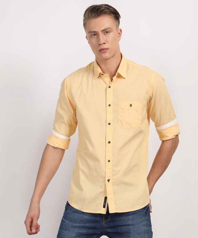 Louis Philippe Mens Solid Formal Orange Shirt