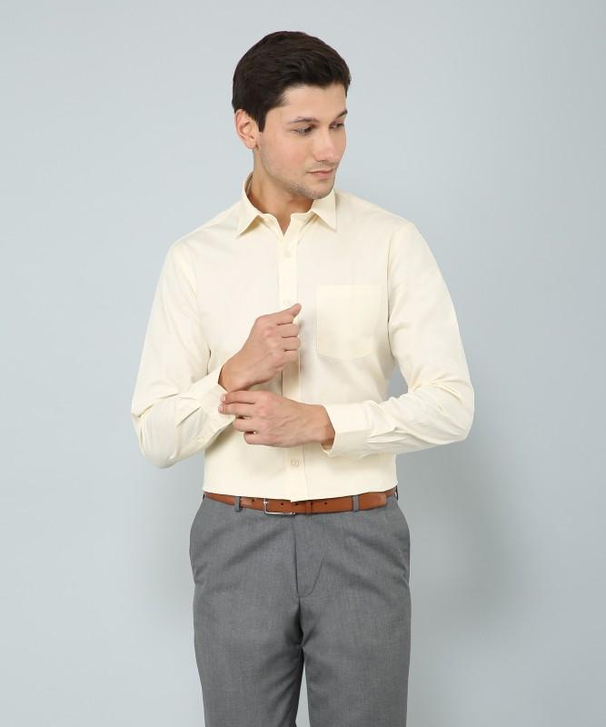 Arrow Men's Solid Formal Beige Shirt