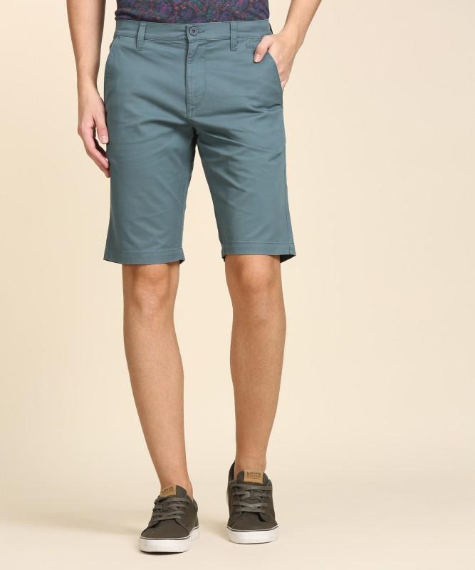 Lee Solid Mens Blue Regular Shorts
