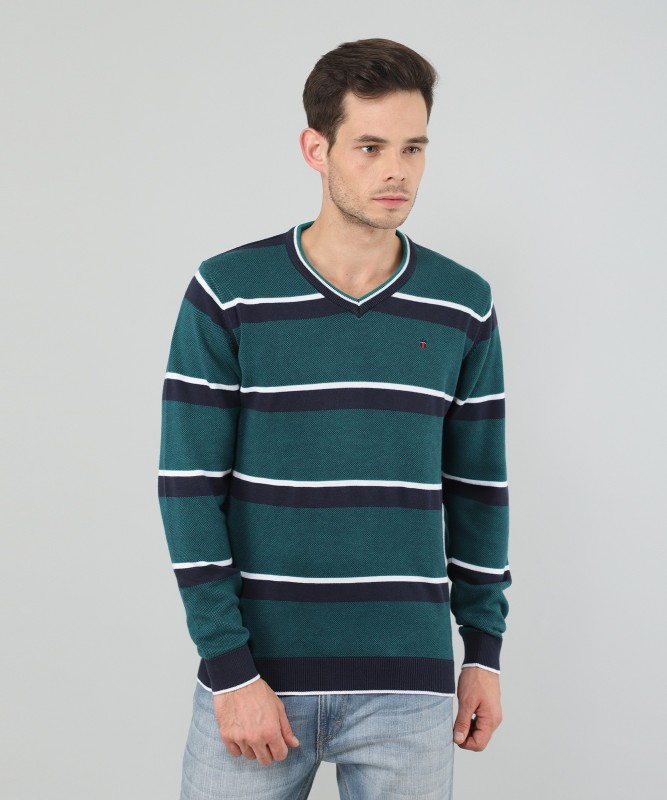 Louis Philippe Striped V-neck Casual Mens Blue, Green Sweater