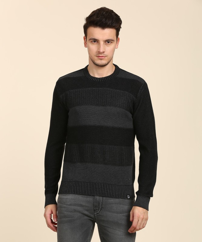 Lee Self Design Round Neck Casual Mens Black Sweater