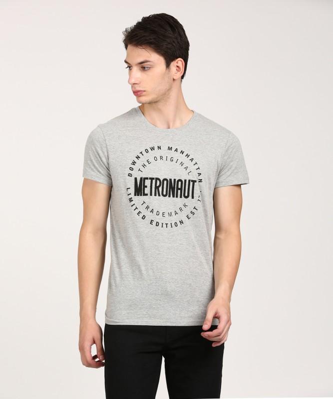 Metronaut Printed Men Round Neck Grey T-Shirt