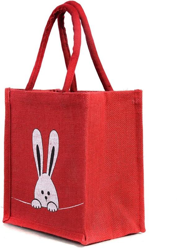 H&B Jute bag / Lunch bag / Jute tote bag Waterproof Lunch Bag(Red, 5 L)