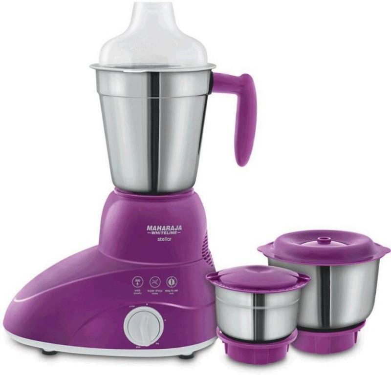 Maharaja Whiteline STELLER (MX-173) 500 Mixer Grinder(Violet & White, 3 Jars)