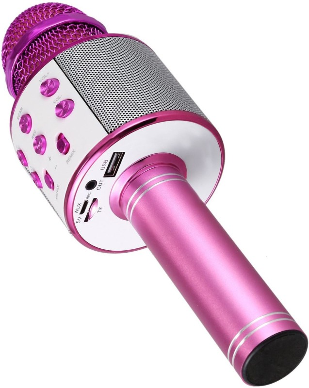 ALONZO WS-858 ROCK SOUND Wireless Handheld Bluetooth Mic with Bluetooth Speaker, Audio Recording and Karaoke Feature Microphone