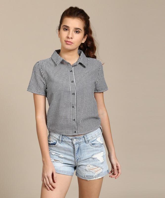 Forever 21 Women Checkered Casual Black Shirt