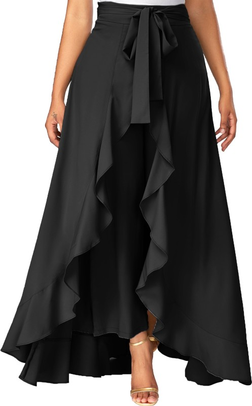 Addyvero Solid Women Flared Black Skirt