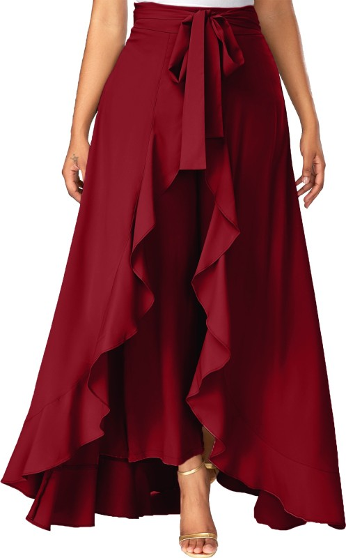 Addyvero Solid Women Flared Maroon Skirt