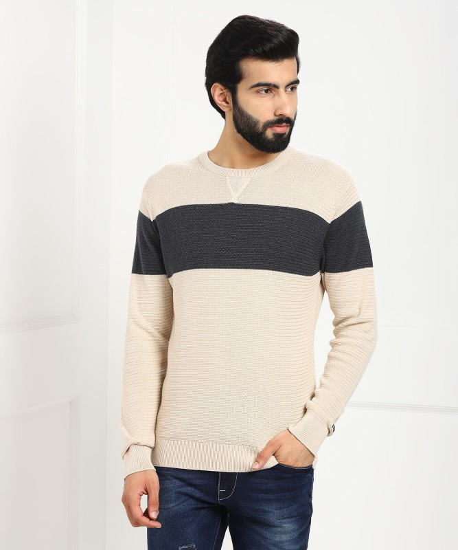 Arrow Sport Self Design Round Neck Casual Men Beige Sweater