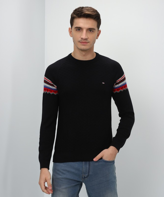 Fort Collins Self Design Round Neck Casual Mens Black Sweater