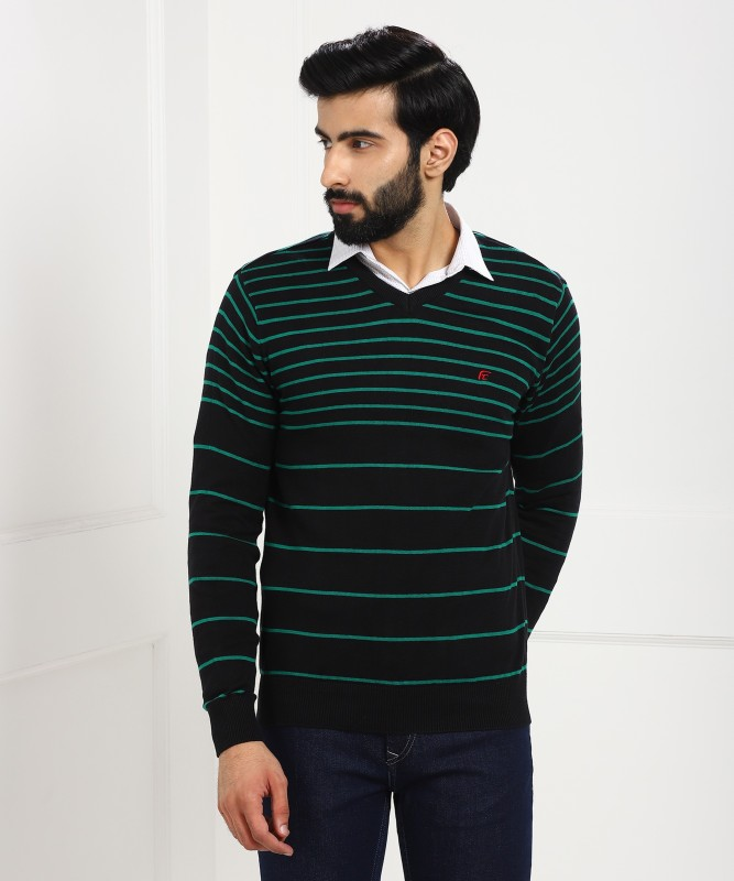 Fort Collins Striped V-neck Casual Mens Black Sweater