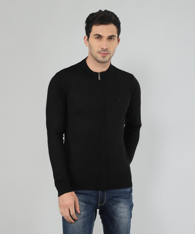 Louis Philippe Solid Turtle Neck Casual Mens Black Sweater