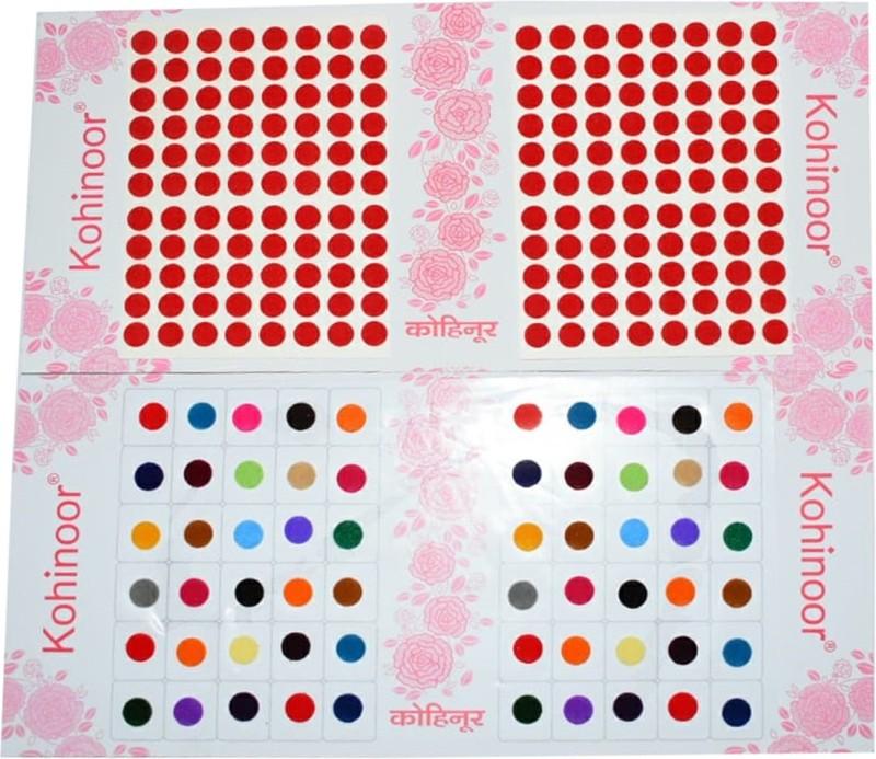 Kohinoor Round Bindi For Woman Multicolor, Red Bindis(Stick On)