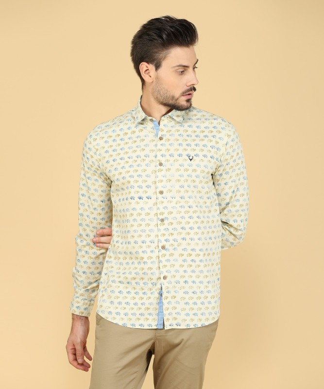 Allen Solly Mens Printed Casual Beige Shirt