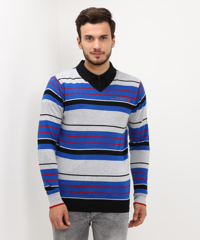 Fort Collins Striped V-neck Casual Mens Multicolor Sweater