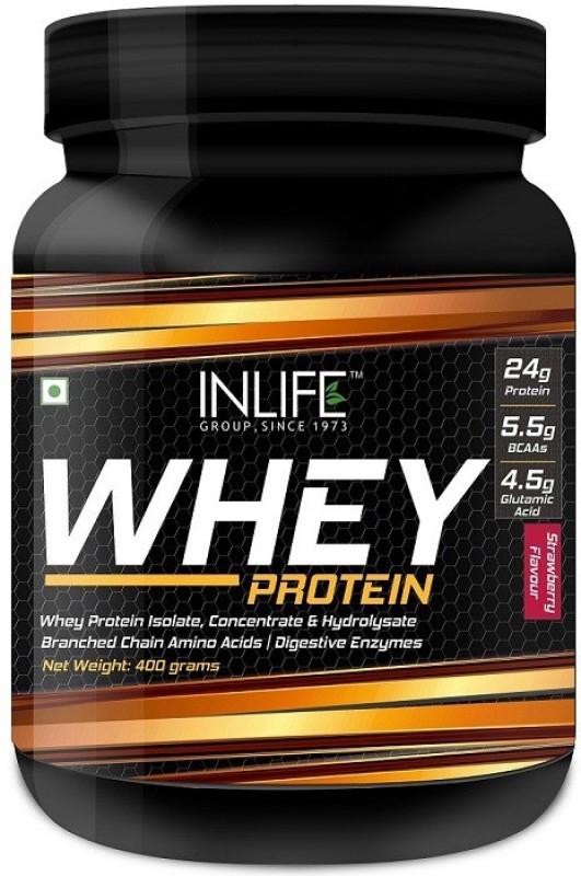 Inlife Whey Protein Powder With Isolate Concentrate Hydrolysate & Digestive Enzymes - 400 Grams (Strawberry) Whey Protein(400 g, Strawberry)