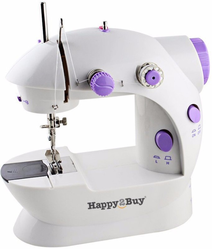Happy2Buy Mini Portable Sewing Machine, Portable Electric Sewing Machine with Lamp and Thread Cutter, High & Low Speeds, Battery or Adapter Power Supplies, Double Thread Needle,Electric Household,Sewing Machine with Foot Pedal,Foot Pedal for Household,Travel Beginner, Battery Or Charger Powered, Eas