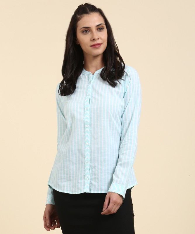Arrow Women Striped Formal Blue Shirt