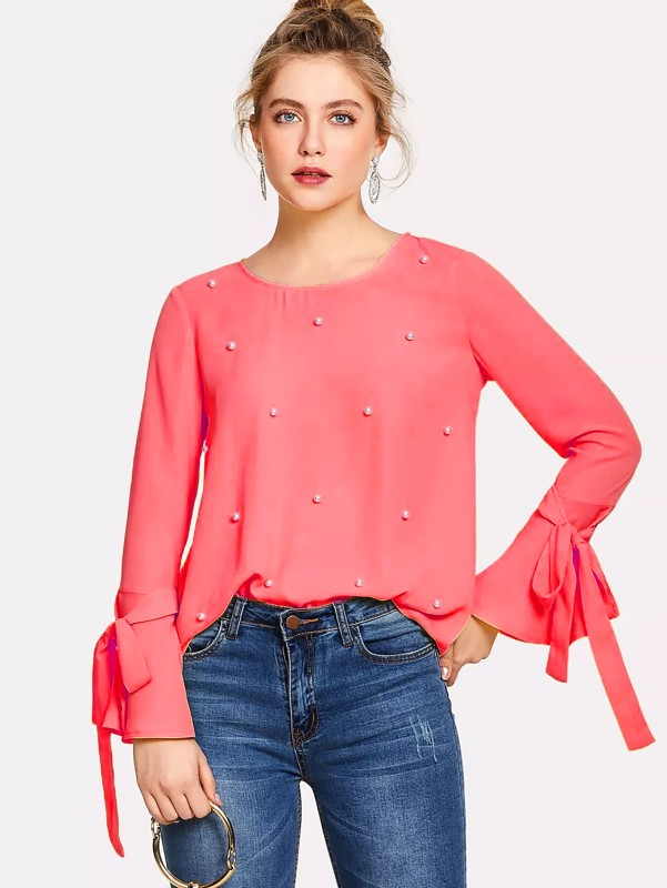 Alfa Fashion Party Flared Sleeve Self Design Women's Red Top