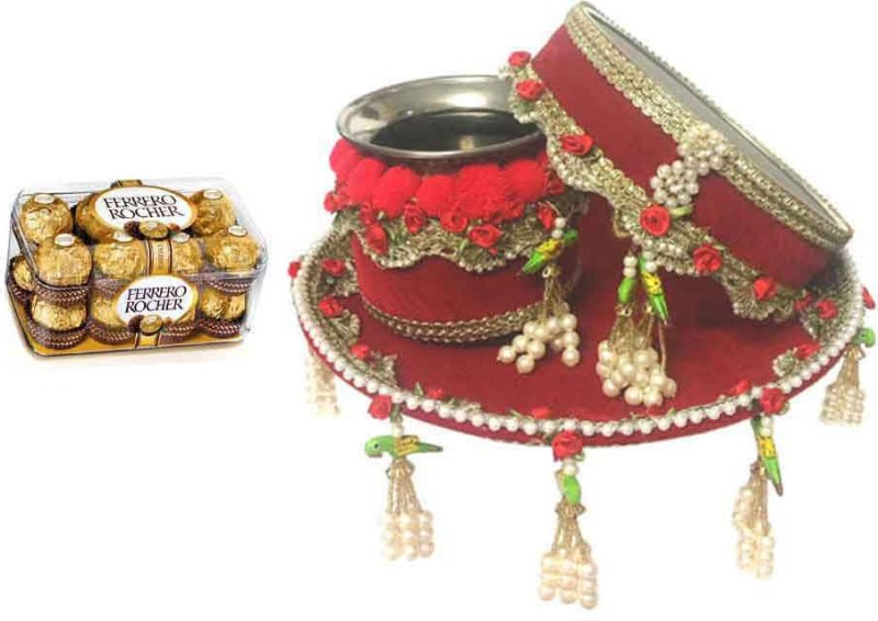 Loops n knots KarwaChauth Pooja Thali Set With Sweets (kc008) Steel, Assorted Gift Box(Red)
