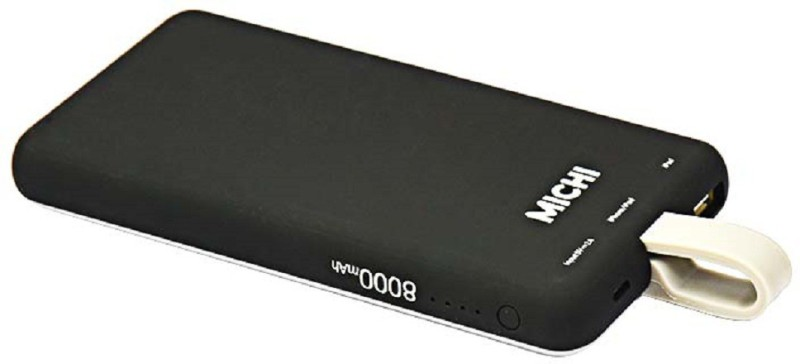 MICHI 8000 Power Bank (Black, MFI Certified With Built In Lightning Cable)(Black, Lithium Polymer)
