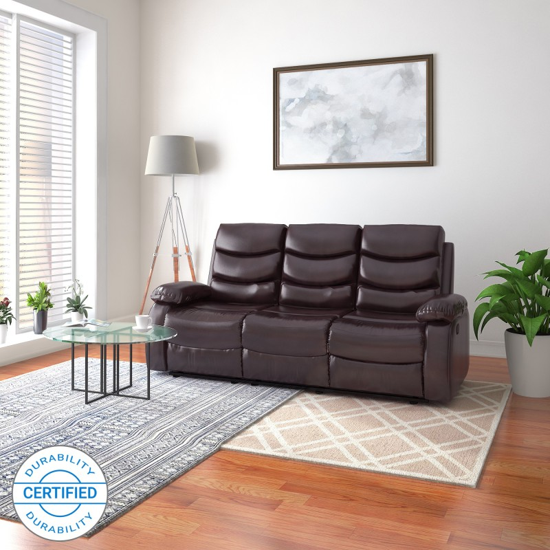 Flipkart Perfect Homes Costello Leatherette Manual Recliners Recliner(Finish Color - Brown, Knock Down)