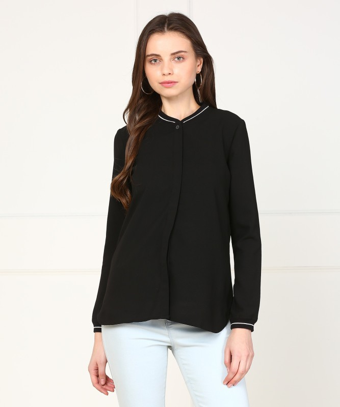 Arrow Womens Self Design Casual Black Shirt