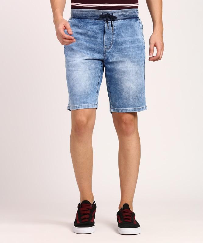Lee Cooper Solid Mens Blue Denim Shorts