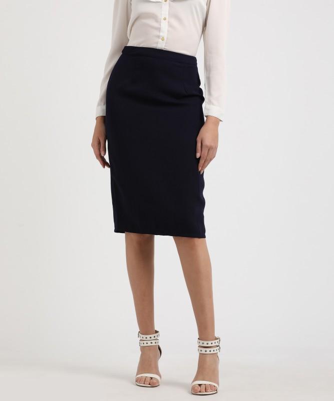 Provogue Solid Women's Pencil Dark Blue Skirt