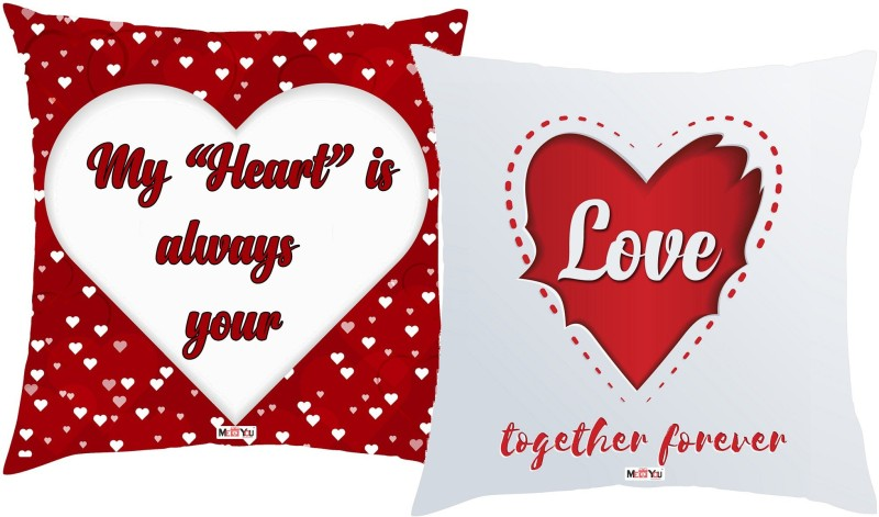 ME&YOU Quotes Printed Decorative Cushion Pack of 2(Multicolor)