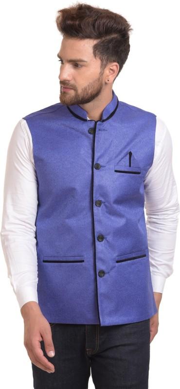 River Hill Sleeveless Self Design Mens Jacket
