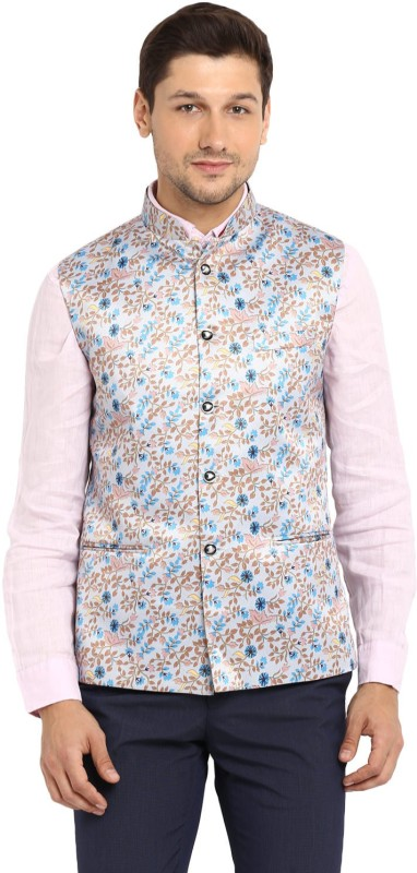 Routeen Sleeveless Printed Mens Jacket