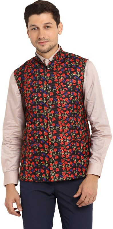 Routeen Sleeveless Floral Print Men Jacket
