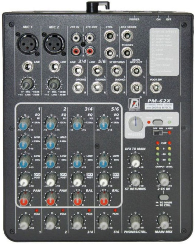 P.A [P.Audio] PM-62X Six Channel Live Mixer with effects Powered Sound Mixer